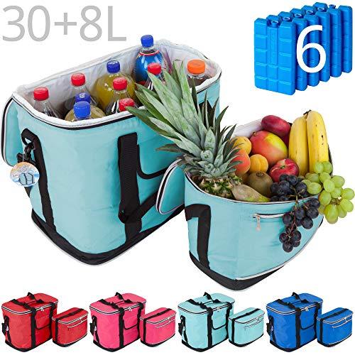 MABAMAHO Kühltaschen-Set Ibiza 30+8 Liter mit optional 6 Kühlakkus für Picknick, Grillen, Wandern (Ohne Kühlakkus, Türkis)