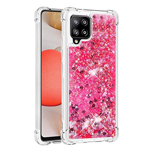 DiDaDi Samsung Galaxy A42 5G Case Crystal Clear Transparent Sparkly Shiny Glitter Bling Flowing Liquid Quicksand Gel TPU Silicone Bumper Shockproof Cover for Samsung Galaxy A42 5G (Pink)