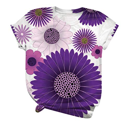 Shirts for Women 3D Flowers Painted T Shirt Funny Graphic Tees Summer Short Sleeve Tops Flowers