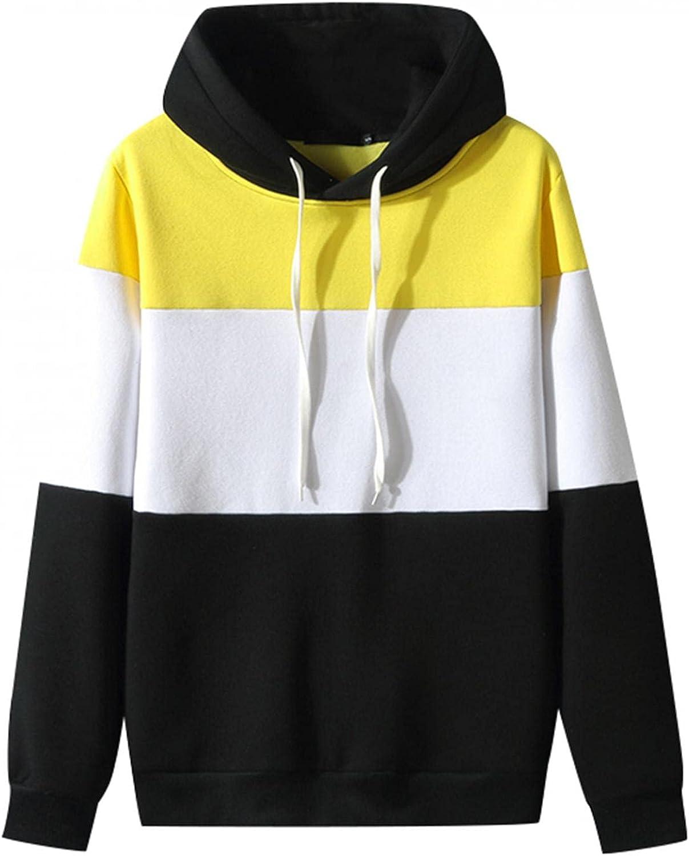 Hoodies for Men Cozy BlockColor Fashion Mens Athletic Hoodies Loose Long Sleeve Pullover Sports Sweatshirt Tops