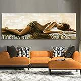 ganlanshu Cuadro sin Marco Lienzo Pared Arte Imagen para Sala de Estar decoración del hogar Pintura al óleo de Mujer dormida ZGQ3739 40X120cm
