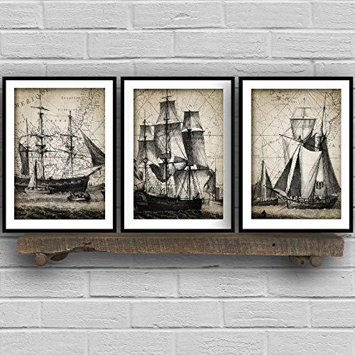 LLXXD Vintage Velero Tríptico Carteles e Impresiones Baño Arte de la Pared Decoración Barco de la Marina Arte náutico Pintura en Lienzo Decoración 30x40cmx3 (sin Marco)