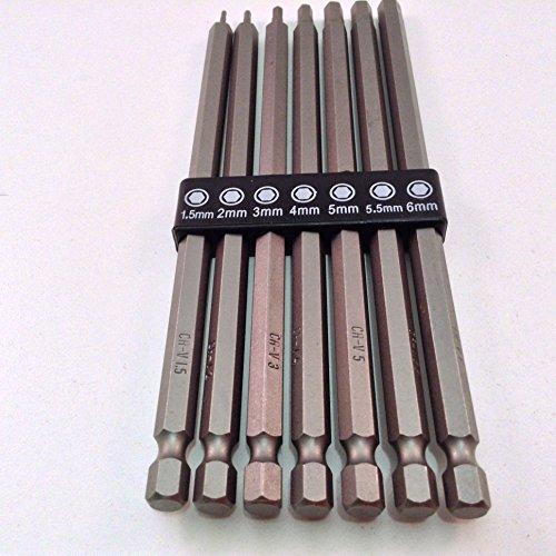 7pc Long Reach Metric Hex Bit Set with 1/4' Hex Shank CR-V Steel
