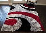 8'x10' Feet 3D Carved Super Soft Cozy Furry Red Black Silver Colors Area Rug Carpet Rug Plush Shaggy Shag Furry Decorative Designer Modern Contemporary Bedroom Living Room