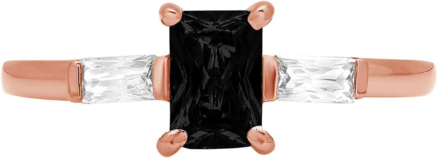 1.05ct Emerald Baguette cut 3 stone Solitaire with Accent Flawless Natural Black Onyx Gemstone Ideal VVS1 Engagement Promise Statement Anniversary Bridal Wedding Designer Ring 14k Rose Pink Gold
