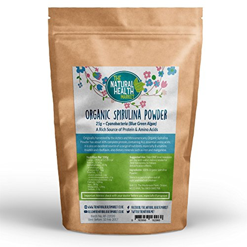 Organic Spirulina Powder by The Natural Health Market • Soil Association Certified Organic • (25g)
