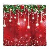 Allenjoy Duschvorhang-Set mit 12 Haken, 183 x 182,9 cm, weihnachtliches Design, Schneeflocken, Schnee, Kiefernblätter, Badezimmer-Vorhang, langlebig, wasserdicht, Stoff, Badewannen-Set, Heimdekoration