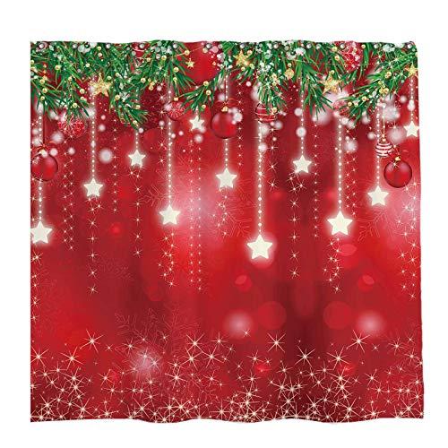 Allenjoy 72x72 inch Winter Christmas Shower Curtain Set with 12 Hooks Xmas New Year Snowflackes Snow Pine Leaves Bathroom Curtain Durable Waterproof Fabric Bathtub Sets Home Decor