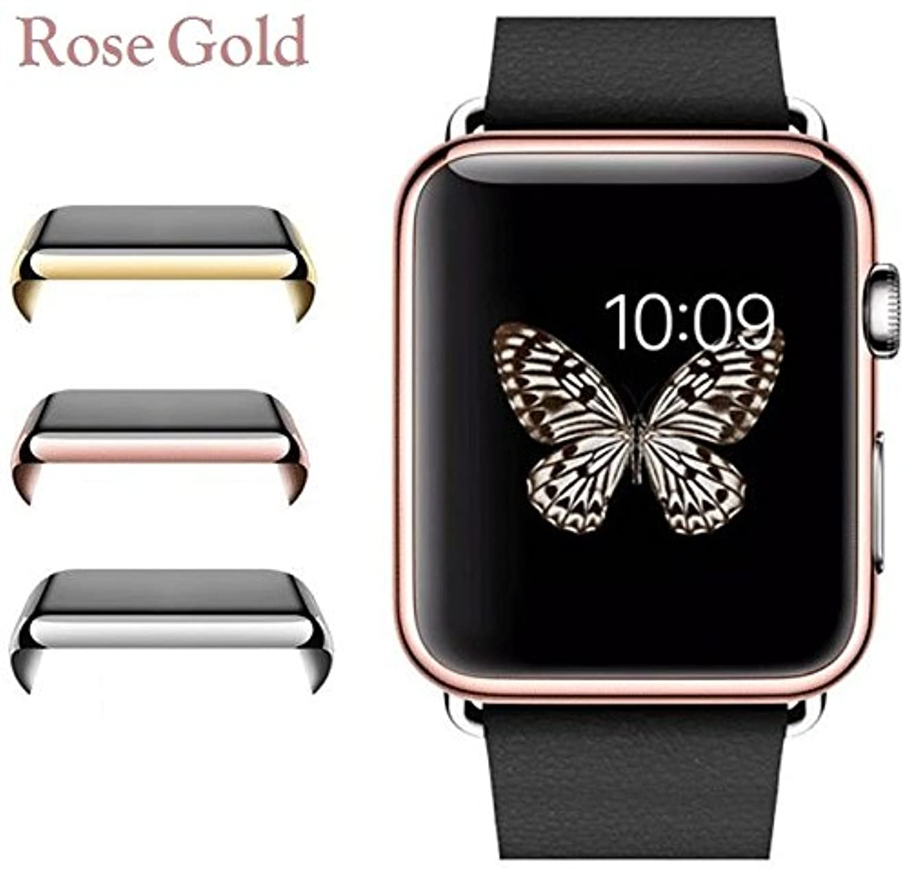 Josi Minea Apple Watch [42mm] Protective Snap-On Case with Built-in Clear Glass Screen Protector - Anti-Scratch & Shockproof Shield Guard Full Cover for Apple Watch Series 2-42mm [ Rose Gold ]