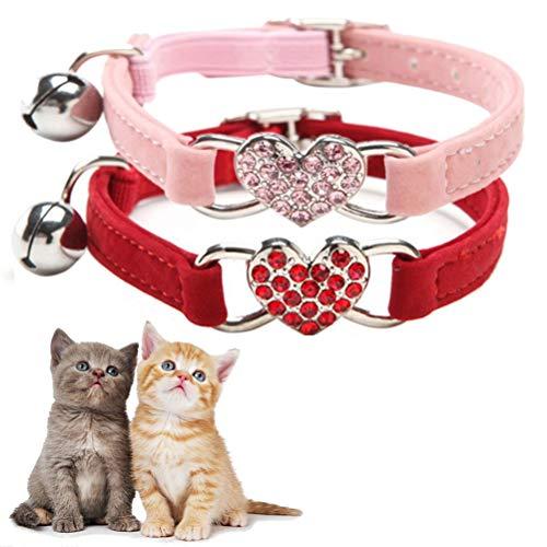 nusohen 2 Stücke Katzenhalsband mit Glocke, Verstellbar Elastisches Katzenhalsband mit Glocke und Herzanhänger Kristall Diamant Katzenhalsband für alle Katzen oder kleine Hunde (Rot, Rosa)