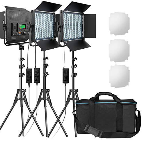 RGB Led Photography Lighting, Pixel 3 Packs Full Color Led Video Lighting Kit, 552PCS LED Beads 45W/CRI 97/2600K-10000K/9 Applicable Scenes, Led Panel Light with U Bracket/Barn door for Video Shooting