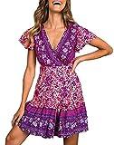 ZESICA Women's Summer Wrap V Neck Bohemian Floral Print Ruffle Swing A Line Beach Mini Dress Purple