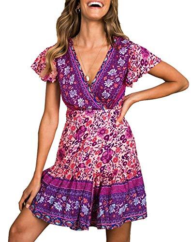 ZESICA Womens Summer Wrap V Neck Bohemian Floral Print Ruffle Swing A Line Beach