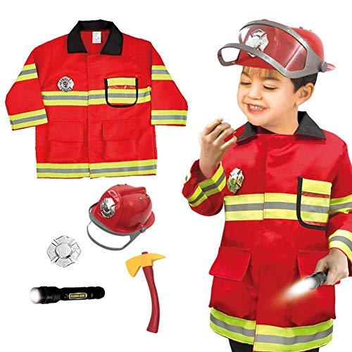 Disfraz De Bombero Para Niños, Disfraz De Bombero Para Niños Lavable De Primera Calidad Para Niños, Niños, Niñas, Niños Pequeños Y Niños Con Accesorios Completos De Bombero