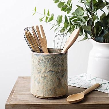 Ceramic Utensil Crock Utensil Holder, (Beige)