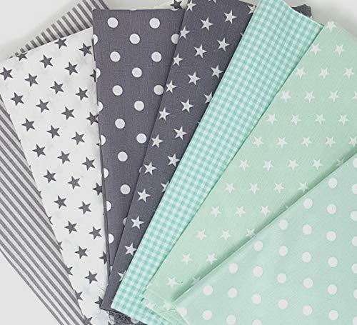 Sugarapple Baumwollstoff Stoffpaket für Patchwork DIY 7 Stücke je 50 cm x 70 cm, Stoff Mix Mint + Grau, Öko Tex Standard 100