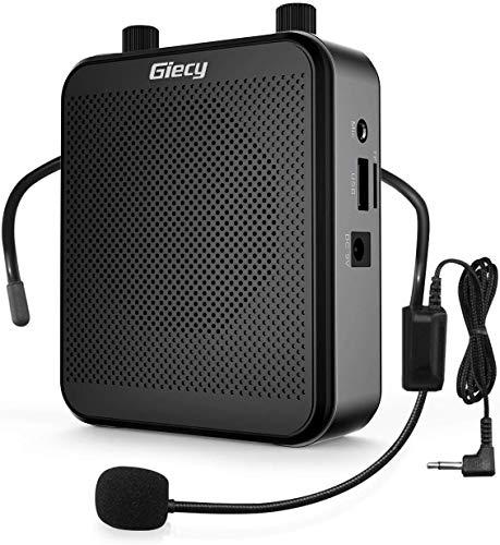 Giecy Sprachverstärker tragbar Blutooth Lautsprecher(30W) mit 7.4V/2800mAh Lithium Batterie und mikrofon headset,Wiederaufladbares Mini Stimmverstärker für Trainer Lehrer Reiseführer Tagungen