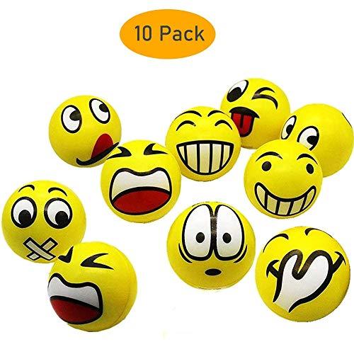 10 Stück Emoji Bälle Set Anti Stress Bälle mit lustigen Gesichtern Gesicht Squeeze Bälle Grimassenbälle Smiley Grimasse Stressabbau Bälle Stress Relief Emotionale Bälle für Kinder und Erwachsene