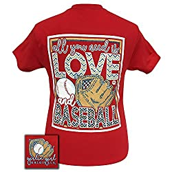 Girlie Girl Originals All You Need Is Love and Baseball Red Short Sleeve T-Shirt