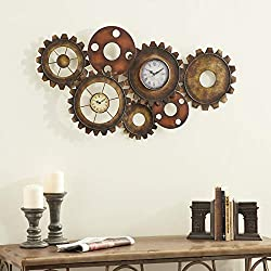 Extra Large Industrial Gear Double Wall Clock, 34 x 17