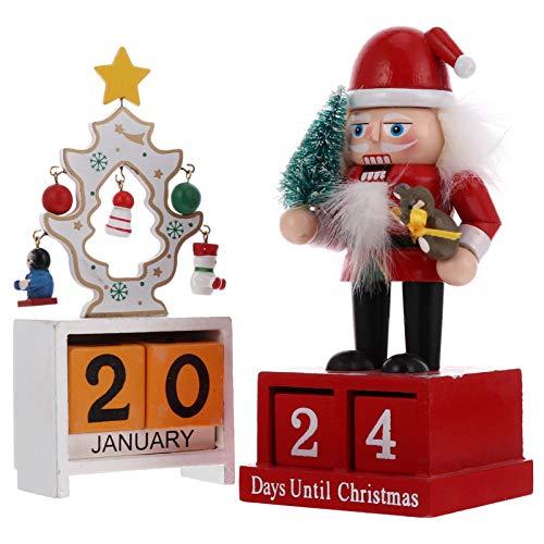 Artibetter 2 Sets Christmas Countdown Calendar Wooden Calendar Block Decorative Nutcracker Doll Xmas Tree Calendar for Xmas Holiday Party Favor