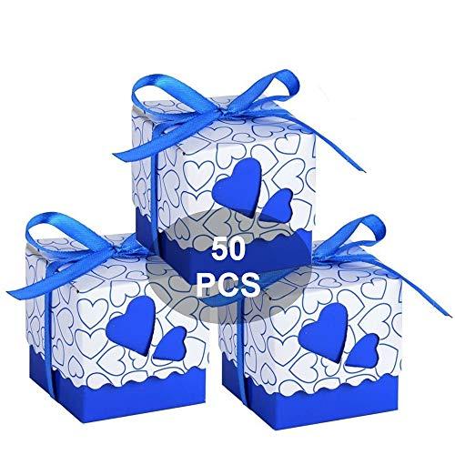 Wady Bomboniere Scatola Cuore Portaconfetti Porta Confetti Segnaposto Regalo con Il Nastro Raso 50pz (Bluette)