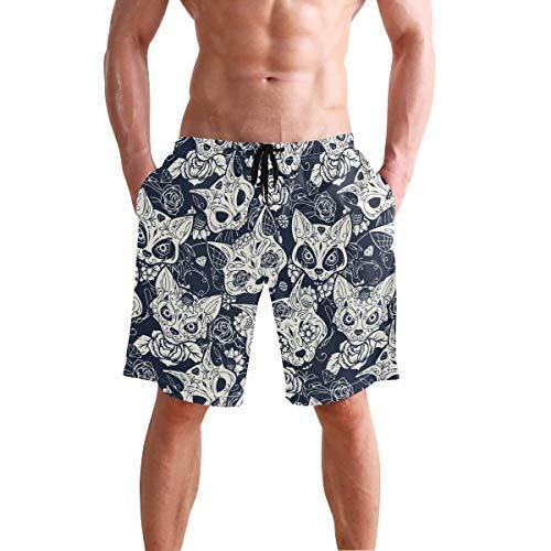Los hombres de la Junta Cortos Gótico Gato Bañador Trunks Pantalones Cortos de Playa S 2030665 - - XX-Large