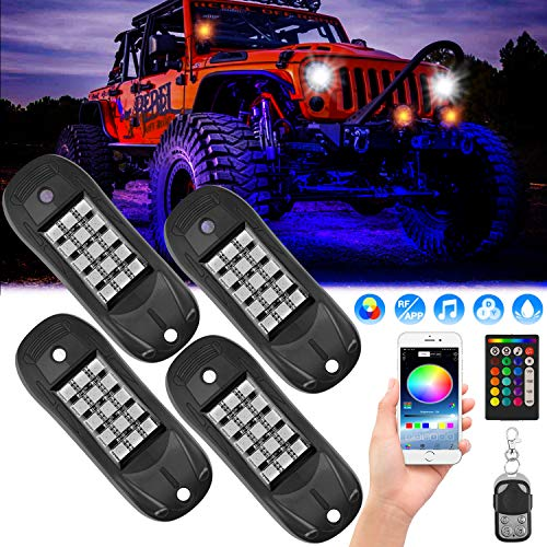 【Brightness Upgrade】 RGB LED Rock Lights, 60 LEDs Multicolor Neon Underglow Lighting Kit with APP/RF Control, Waterproof Music Lighting Kit for Jeep Off Road Truck SUV ATV Motorcycle Boat-4 Pods