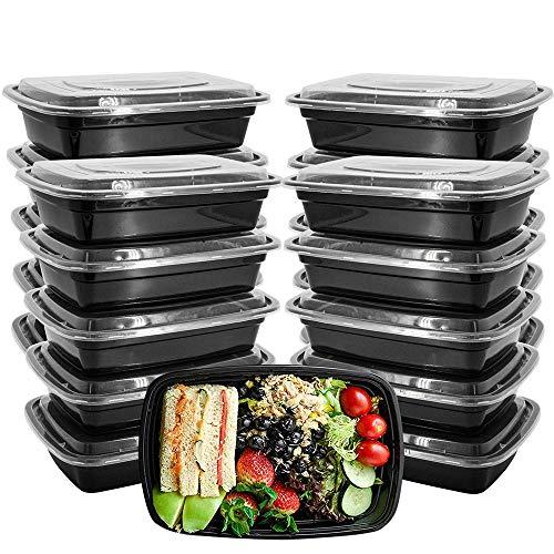 GNSDA 150PCS Meal Prep Containers, Wegwerp Plastic Geïsoleerde Lunchbox, Gezonde Voedselopslag Containers met Deksels voor Magnetron Vriezer Veilig (1000ML/34 OZ) Afhalen