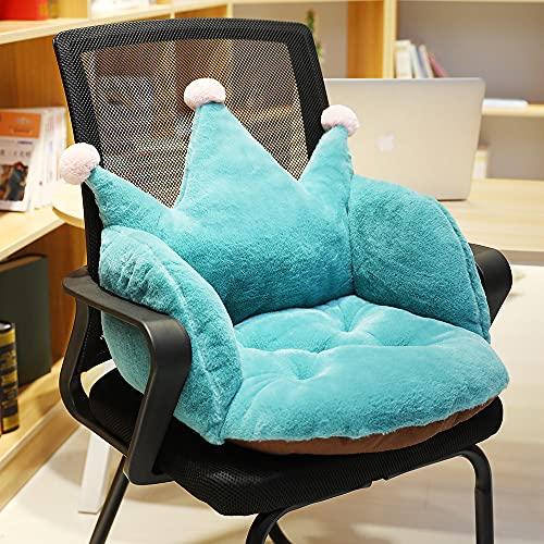 Taijun, cuscino imbottito in peluche con corona, colore verde monocromatico, imbottito, antiscivolo, per divano, camera da letto, ufficio, sedia universale (verde)