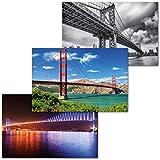 GREAT ART Juego de 3 Carteles XXL – Puentes – Golden Gate San Francisco Puente de Manhattan Puente del Bósforo Decoración de Pared Mural de Interiores Cada uno 140 x 100 cm