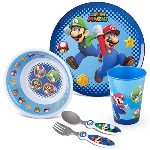 Franco Kids Dinnerware Cartoon Designed Mealtime Kitchen Set, 5 Piece Pack, Super Mario,KZ0068