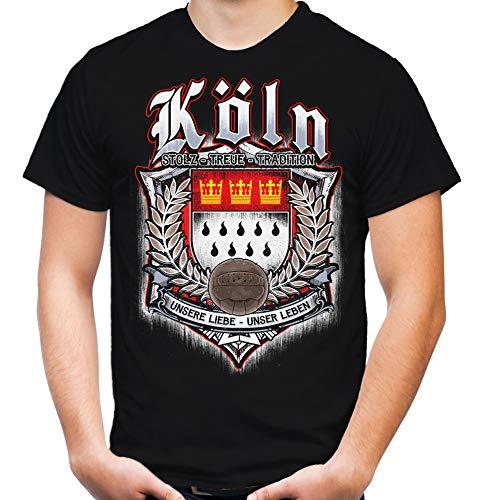 Für Immer Köln Männer und Herren T-Shirt | Sport Fussball Stadt Fan (M, Schwarz Druck: Bunt)