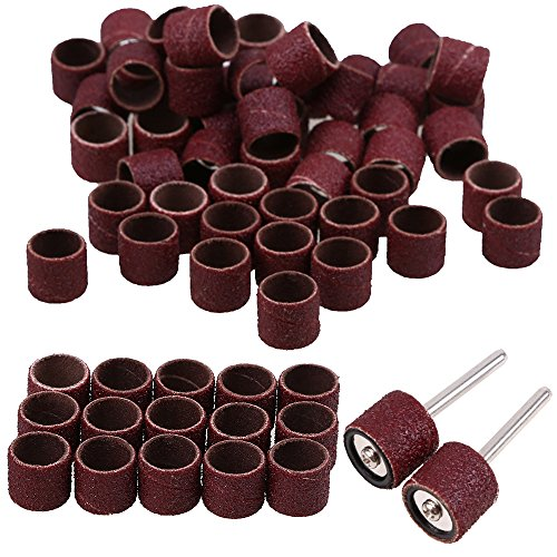 250 Stück Schleifhülsen, WCIC 1/2 inch Drum Sander Schleifen Kit 80 150 180 240 320 Körnung mit Spanndorn für Rotary drll Werkzeug