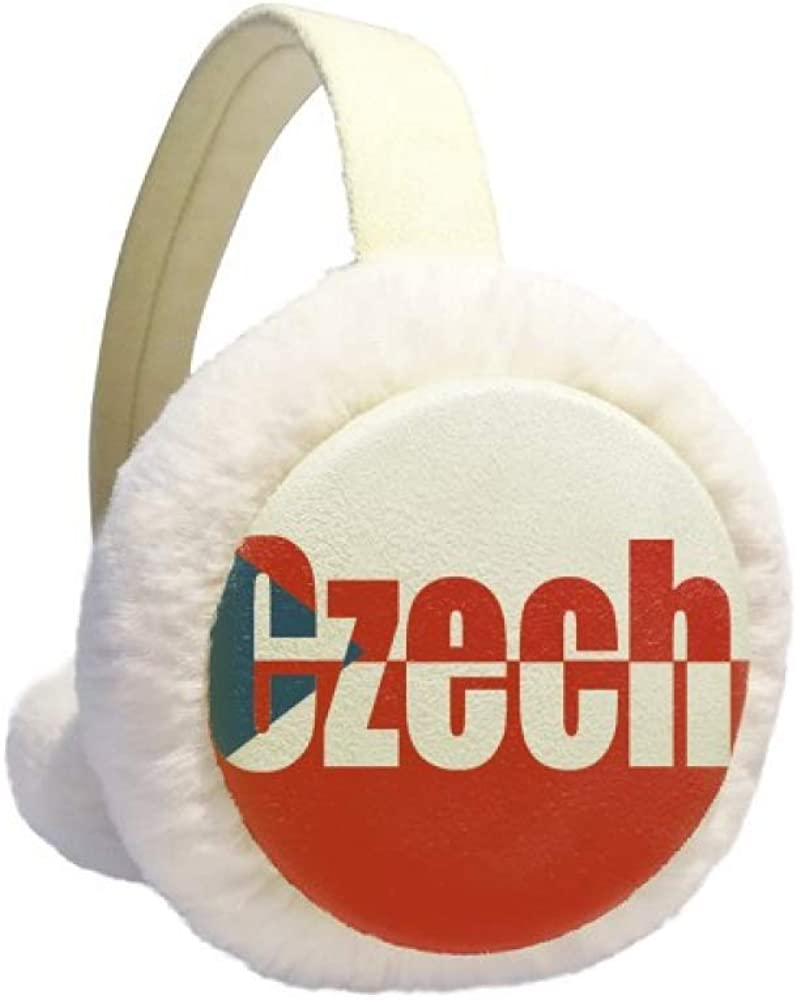 Czech Country Flag Name Winter Earmuff Ear Warmer Faux Fur Foldable Plush Outdoor Gift