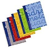 Bloc Lamela Forrado Folio 80 hojas Cuadrícula 3mm, paquete de 5, colores surtidos