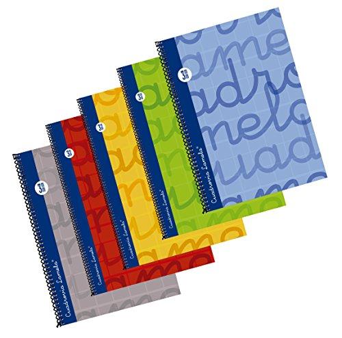 Editorial Lamela B07F3JTL5G Bloc Forrado Folio 80 hojas Cuadrícula 3mm, 5 colores básicos surtidos
