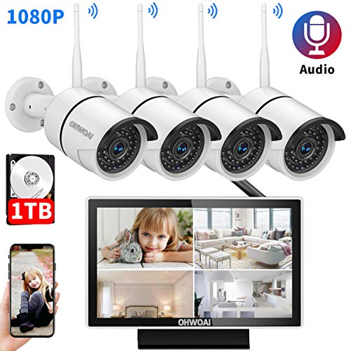 【10 Inch Screen】 Home Security Camera System Wireless,8 Channel 4pcs 1080P 2.0MP Indoor/Outdoor CCTV System with Monitor,Surveillance Video Camera System 1TB Hard Drive Pre-Installed.