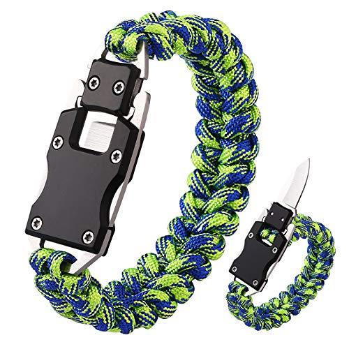 Paracord Knife Bracelet Survival Cord Knife Bracelets, Tactical EDC Paracord Bracelet, Emergency Survival Gear for Hiking Traveling Camping, Paracord Bracelet for Men (Neon Green+Blue)