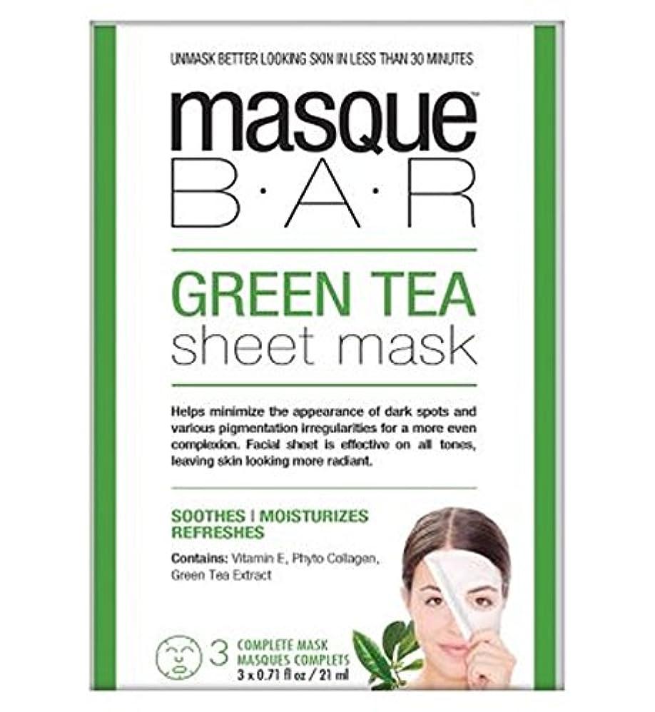野生仲間、同僚ラケットMasque Bar Green Tea Sheet Mask - 3 complete masks - 仮面劇バー緑茶シートマスク - 3完全なマスク (P6B Masque Bar Bt) [並行輸入品]