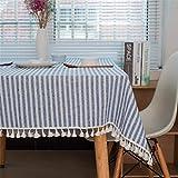 SONGHJ Algodón de Lino Colorido Borla Manteles Rectángulo Blanco Mantel Home Decoraciones para Fiestas Decoraciones Manteles Cubierta de Tabla B 140x200cm