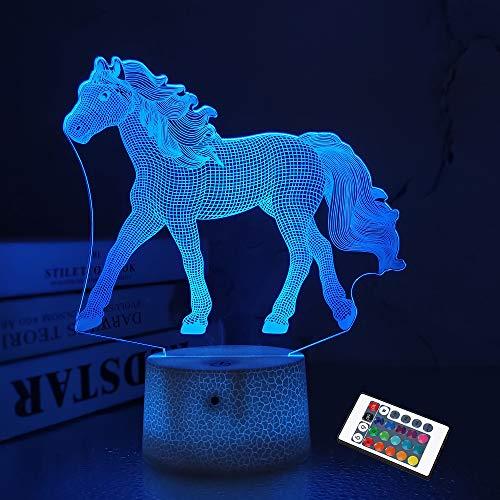 Caballo regalos para niña, Caballo 3D luces de noche para niños lámpara de ilusión de 16 colores cambiantes con mando a distancia Los mejores regalos de cumpleaños para niños bebés y niñas