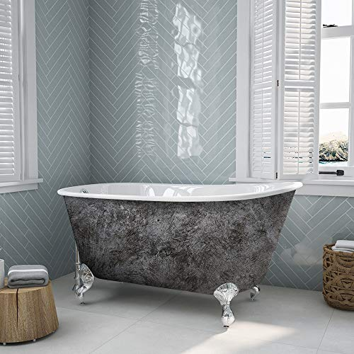 Cambridge Plumbing Scorched Platinum 54-inch Swedish Clawfoot Tub with Polished Chrome Feet.