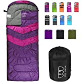 Gold Armour Sleeping Bags for Adults Kids Boys Girls Backpacking Hiking Camping, Cold Warm Weather 4 Seasons, Indoor Outdoor Use, Lightweight & Waterproof, Right Zipper (Purple/Fuchsia)
