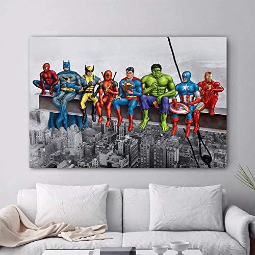 WKHRD Anime Affiche Photos Toile Peinture drôle Super-héros Film Affiche Chambre décoration Murale Peinture Enfants Murale   60x80 cm (sans Cadre)