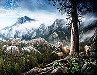 HD 山の背景と霧の森自然の風景とトナカイ風景ビニール写真Backdroundパーティー子供誕生日写真肖像画ビニールスタジオプロップ7X5FT