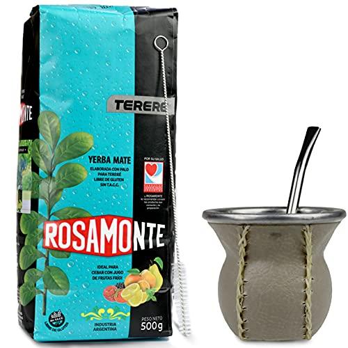 Juego de té mate: Yerba Mate té Rosamonte Terere 0,5 kg | vaso mate de cristal con revestimiento de piel auténtica (marrón claro), calabaza | bombilla | cepillo de limpieza