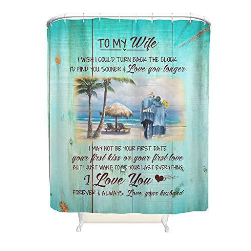 Cortina de ducha con diseño de mi mujer, universal, fácil de lavar, con ganchos, 150 x 200 cm, color blanco