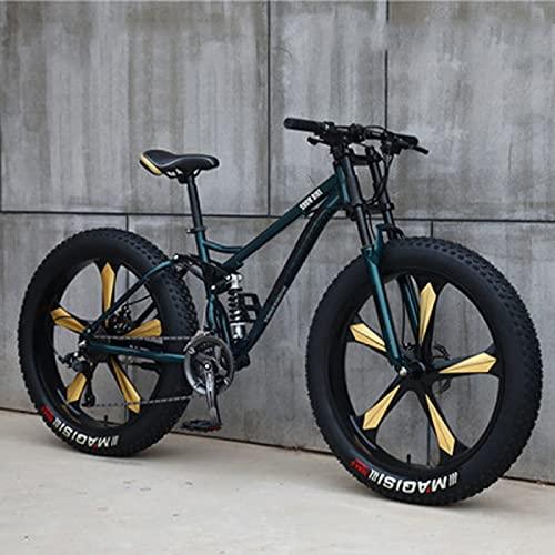 SHUI 24'' Bicicletas De Montaña para Adultos, Bicicleta Montaña con Llantas Gruesas 4.0, Bicicleta De 7/21/24/27/30 Velocidades, Cuadro Suspensión para Bicicleta Montaña cyan-27 Speed