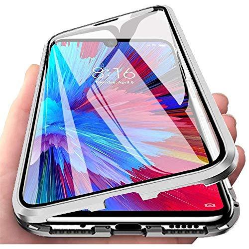 Funda para Xiaomi Redmi Note 9S / Redmi Note 9 Pro, 360 Grados Delantera y Trasera de Transparente Vidrio Templado Case Cover, Fuerte Tecnología de Adsorción Magnética Metal Bumper Cubierta - Plata